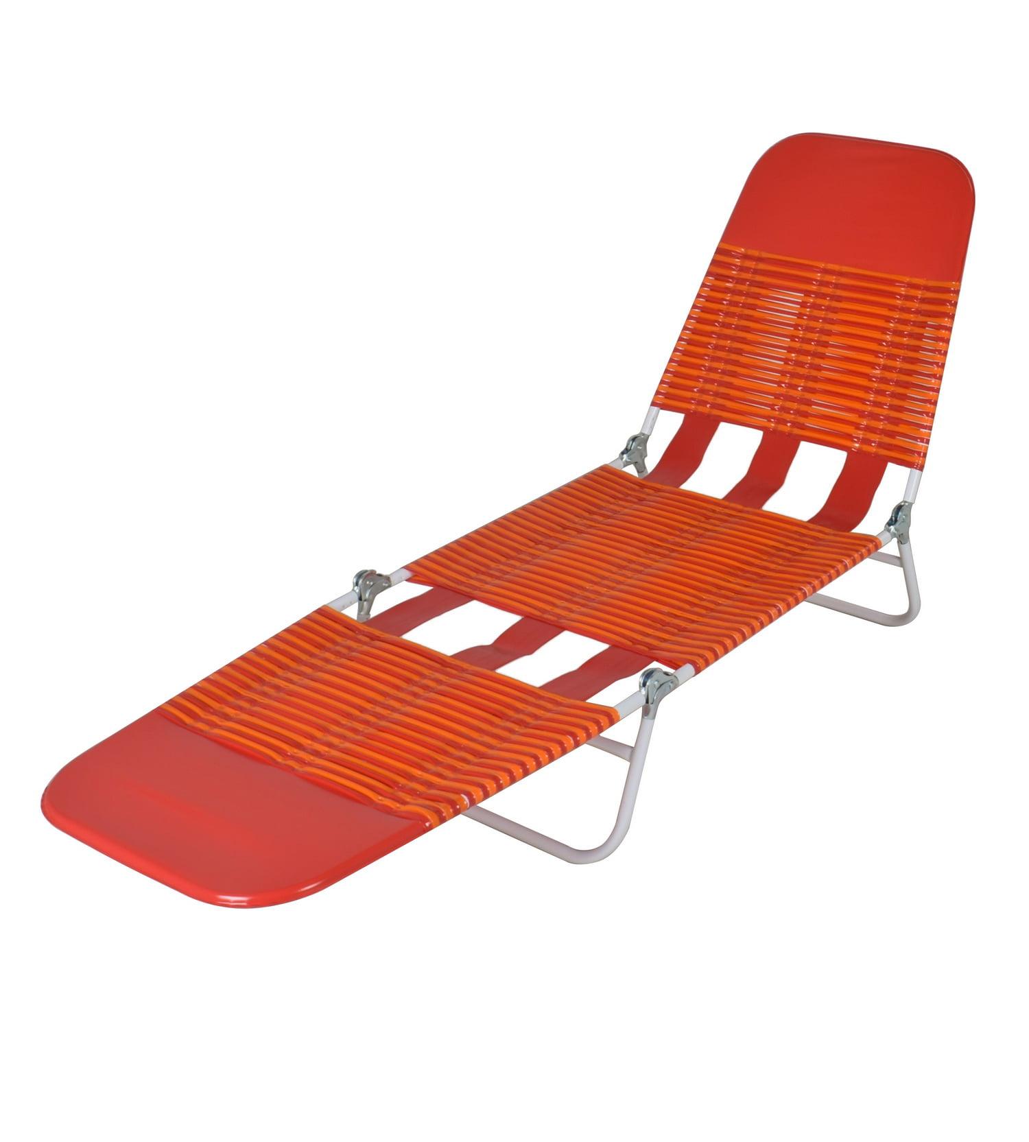 Mainstays Folding Jelly Beach Lounge Chair Orange