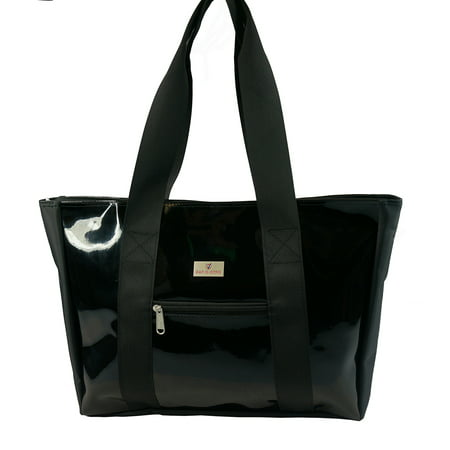 Woman Tote Bag Large PVC Shopping Tote Lady Synthetic Leather Handbag With Zippered Main Pocket, Black - Tote Bag With Pockets