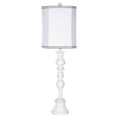 Safavieh Polly Candlestick Lamp with CFL Bulb, White with Off-White Shade