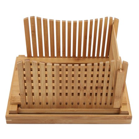 Qiilu Foldable Bamboo Bread Slicer Guide with Crumb Catching Tray, Bamboo Bread Slicer Guide,Bread Slicer Guide - image 3 of 13