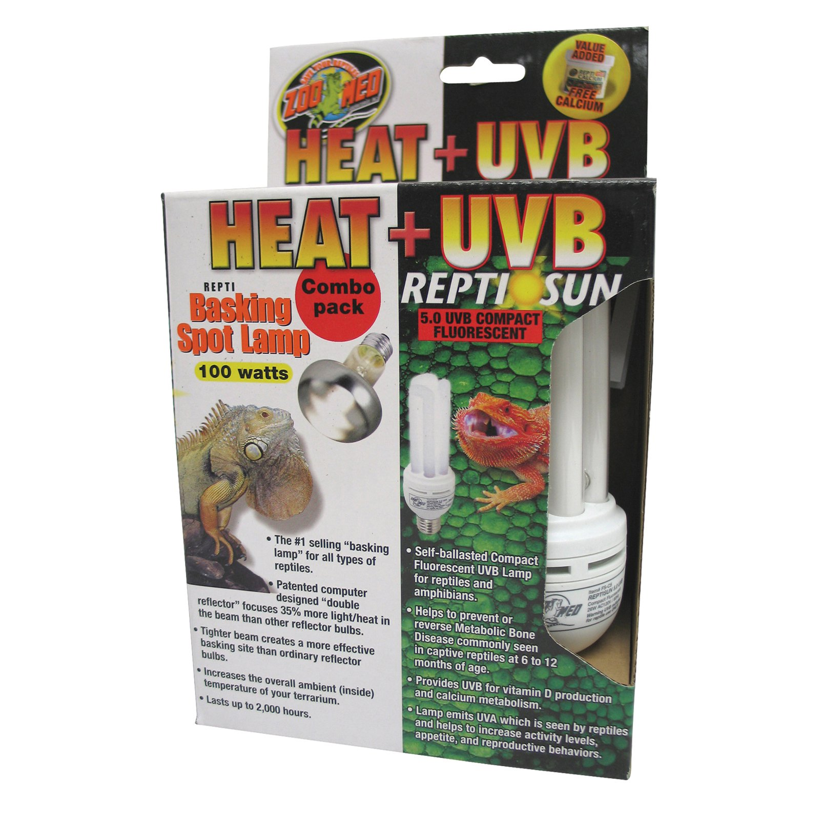 Zoo Med Heat and UVB Basking Spot Lamp and Reptile Sun Fluorescent Combo Pack Multi-Colored