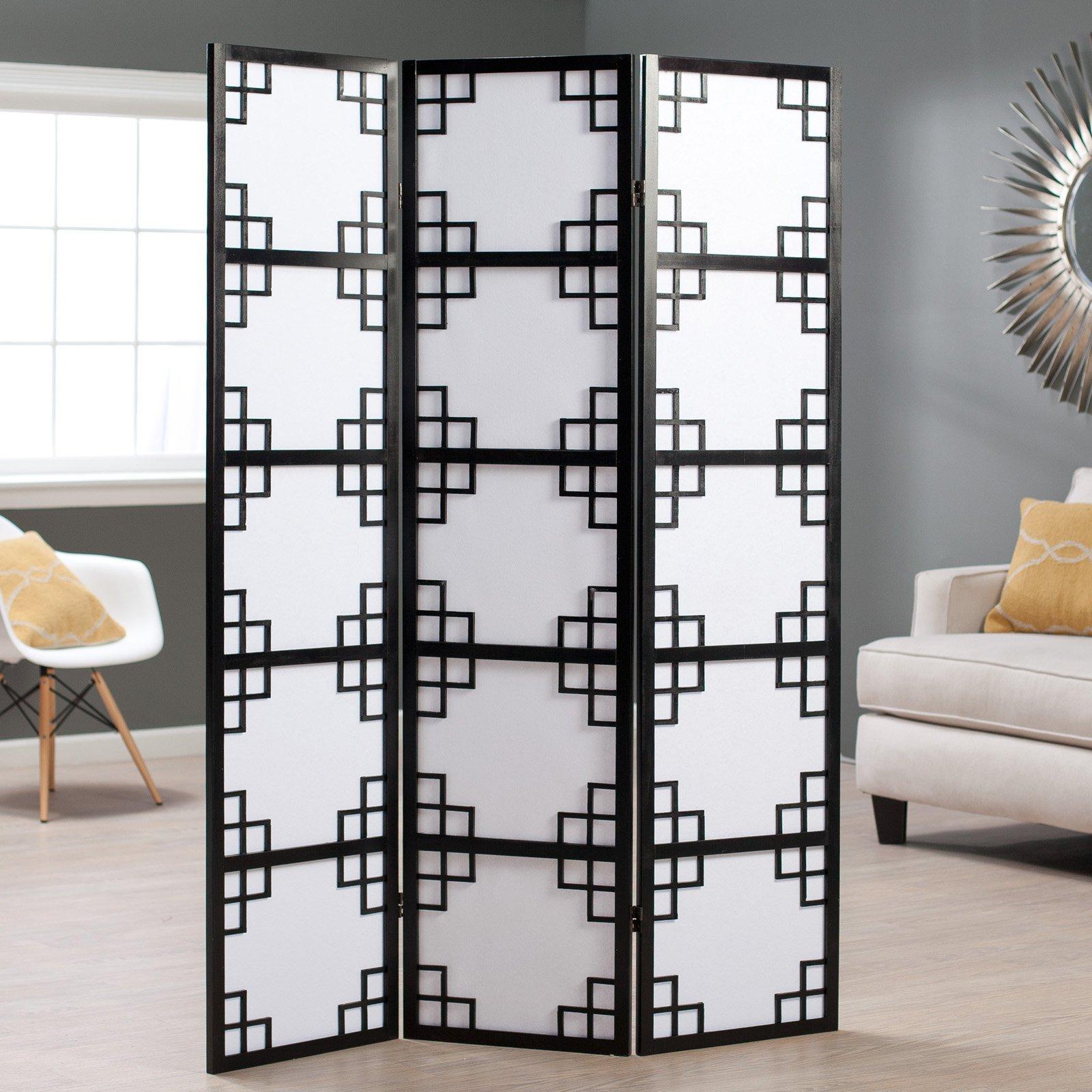 Black Omei Lattice 3-Panel Screen Room Divider