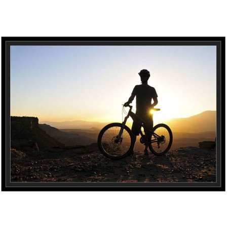 A Silhouette Of A Mountain Biker At Sunset On Gooseberry Mesa In Southern Utah. by Eazl Black Framed Premium Gallery