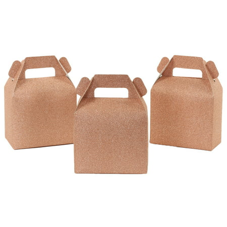 Koyal Wholesale Real Glitter Gable Gift Favor Box Rose Gold, Favor Box with Handle, in Bulk 50-Pack, Party Favor - Wholesale Boxes