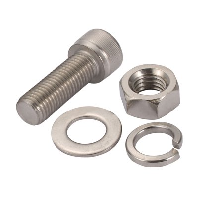5Pcs M16x45mm 304 Stainless Steel Knurled Hex Socket Head Bolts Nuts Set w Washers - image 1 de 5