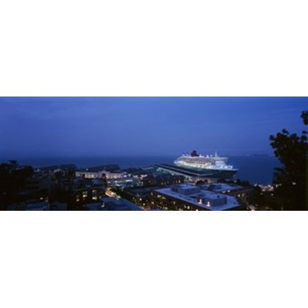 High angle view of a cruise ship at a harbor RMS Queen Mary 2 San Francisco California USA Stretched Canvas - Panoramic Images (30 x - Dark Harbor Halloween Queen Mary