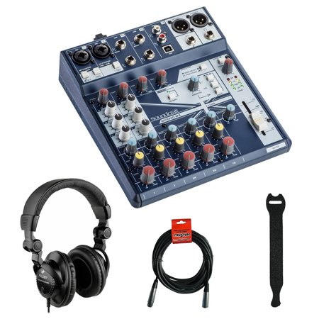 Soundcraft Notepad-8FX Small-Format Analog Mixing Console with Polsen HPC-A30 Monitor Headphones, Fastener Straps (10-Pack) & XLR Cable