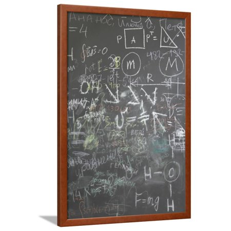 Grey School Chalkboard With Many Different Formuls Signs And Counts