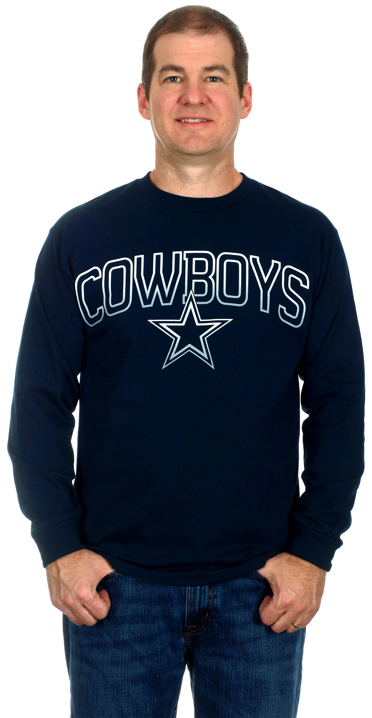 Dallas Cowboys Mens Long Sleeve Cotton T-Shirt by