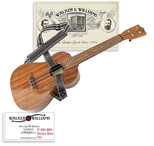 Walker & Williams U-66-BRN Double Hook Uke Shoulder Strap Hands Free