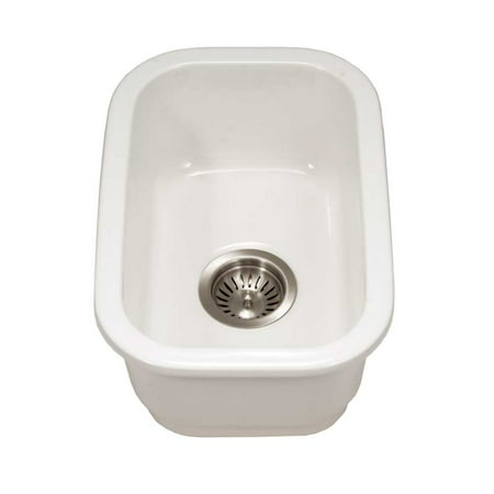"Platus Fireclay Undermount 13"" Rectangular Bar Sink, White"