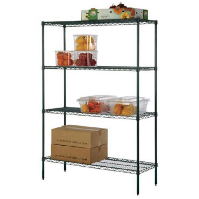 FocusFoodService FF1448G 14 inch W x 48 inch L Epoxy Wire Shelf - Green