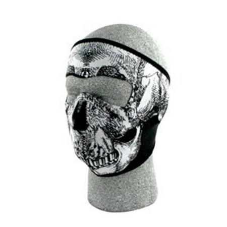 3353659298d Zan Headgear WNFM002 Neoprene Face Mask Black and White Skull Face - image  1 of ...