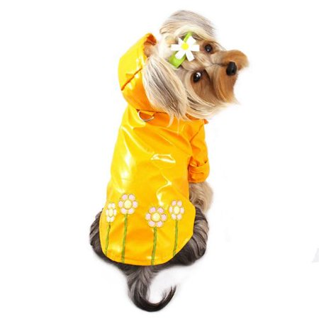 Polka Dots and Daisy Dog Raincoat Size: Medium (10' - 12' (Daisy Rein)