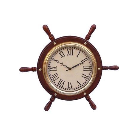 - Solid Brass Ship Wheel Clock 15