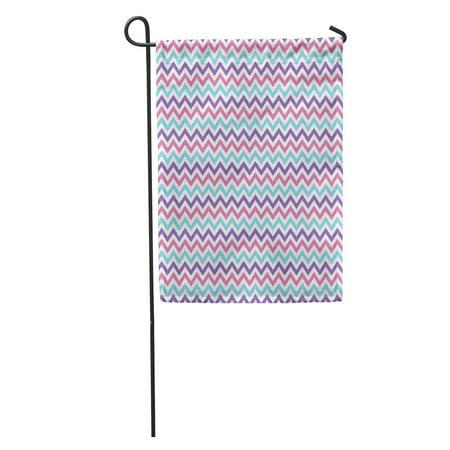 KDAGR Blue Turquoise Pink Purple Chevron Pattern Zag Zig Bright Frozen Garden Flag Decorative Flag House Banner 12x18 - Banner Frozen