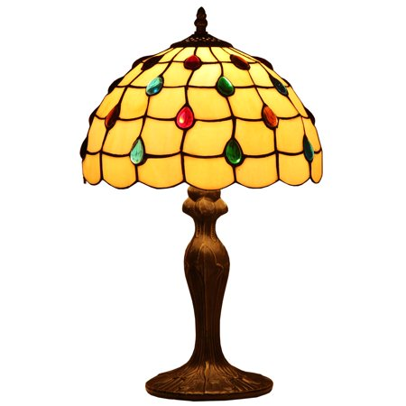 Bieye L10517 12-inches Pearls Tiffany Style Stained Glass Table Lamp with Metal Base, 19-inch in Height