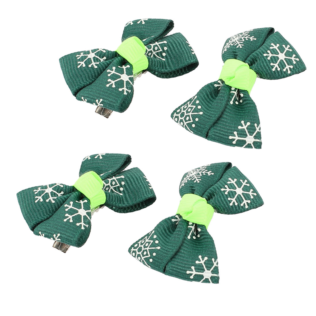 Pet Dog Cat Snowflake Pattern Hair Grooming Hairpin Headdress Clip 4 Pcs Green