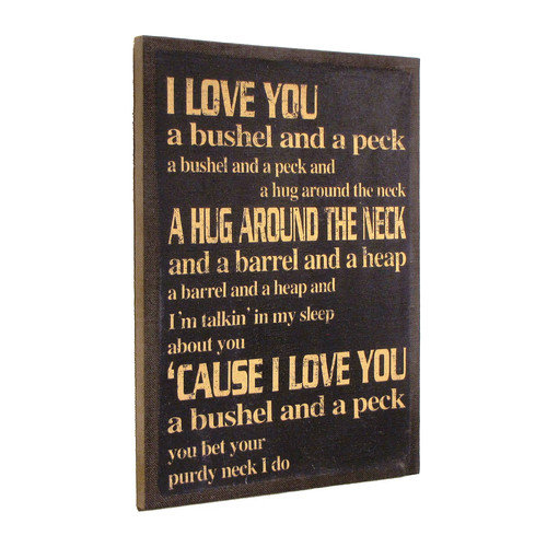 Wilco Home ''Inspire Me'' ''I Love You a Bushel & a Peck'' Framed Textual Art