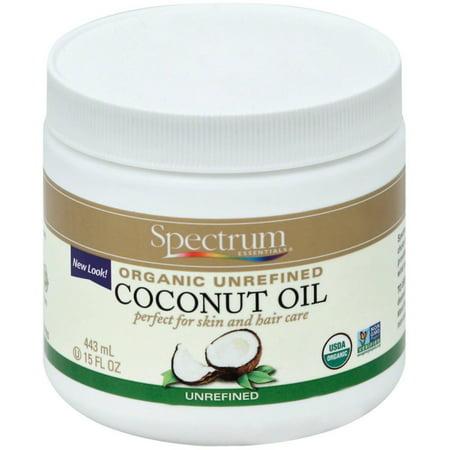 Spectrum Essentials Organic Unrefined Coconut Oil For Body & Hair 15 oz (Pack of 2)