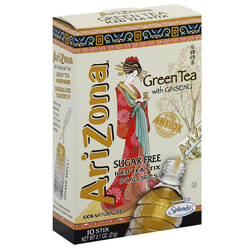 AriZona Sugar Free Green Tea with Ginseng Iced Tea Stix , 10 count, (Pack of 12)