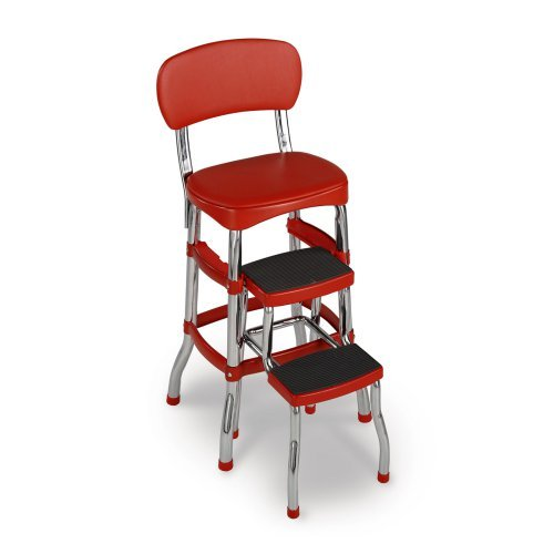 Cosco Red Retro Counter Chair Step Stool Walmart Com