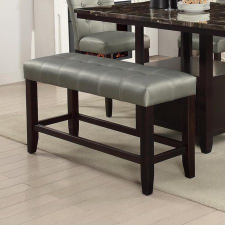 26 Inch High Upholstered Seat - Benzara Tufted High Bench with Tapered Legs