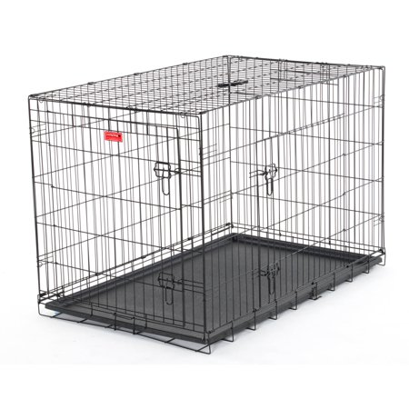 48  L Lucky Dog Folding Black Wire 2 Door Training Crate