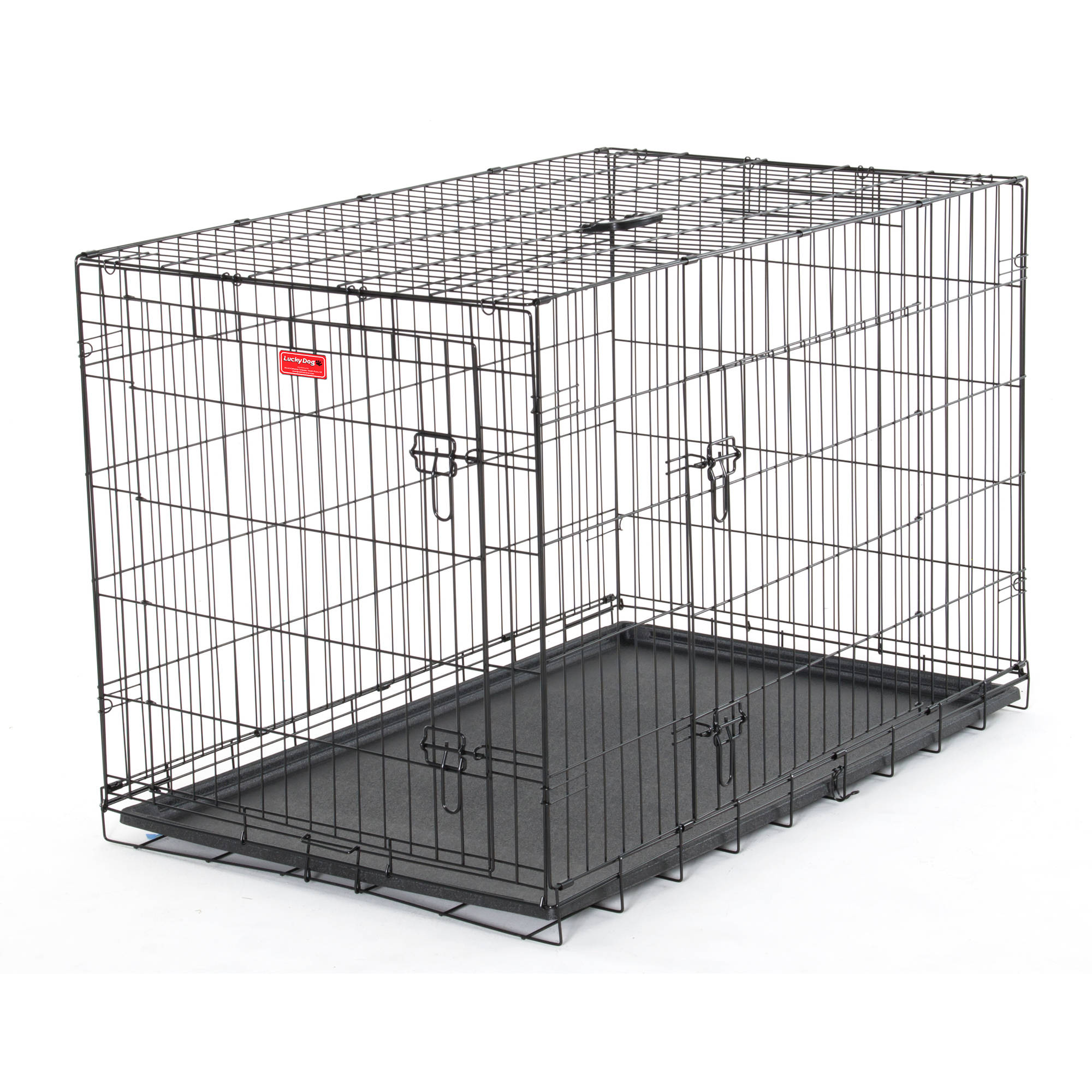 "48""L Lucky Dog Folding Black Wire 2 Door Training Crate"