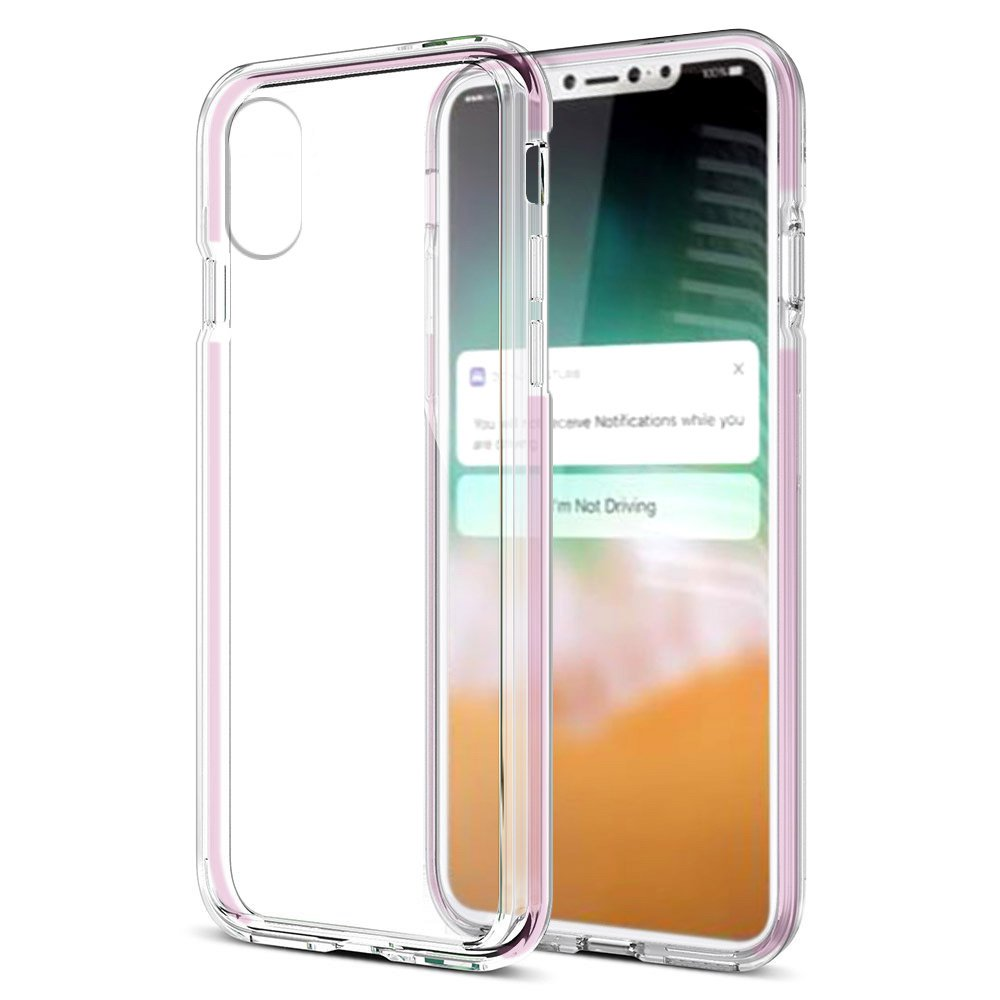 iPhone X Case, Premium Soft Slim TPU Bumper Back Cover Shockproof Gripped Transparent Case for iPhone X - Clear/Pink,Raised Bizel,Anti Scratch,Impact Resistant
