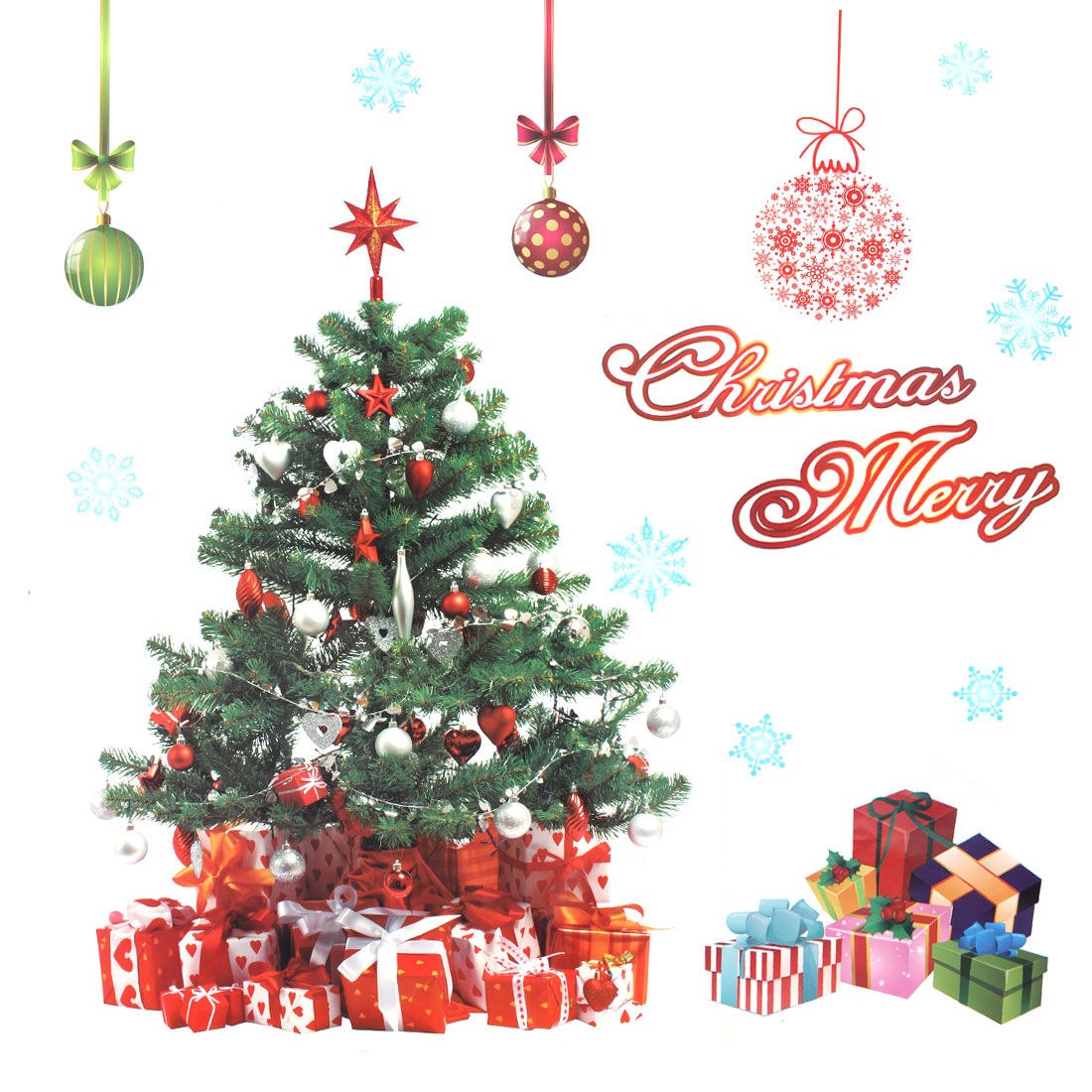 Unique Bargains Home Room Christmas Tree Pattern PVC Wall Decor Sticker