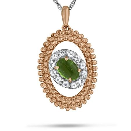 - Viola, Oval-cut Peridot & White Topaz Slide in Sterling Silver Pink Rhodium