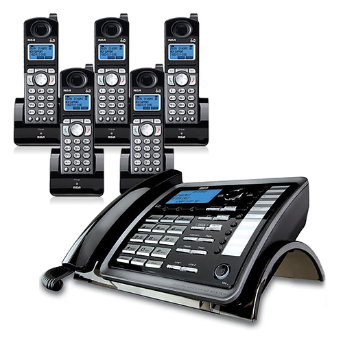 RCA ViSYS 25255RE2 + (4) 25055RE1 DECT 6.0 2-Line Corded/Cordless Phone