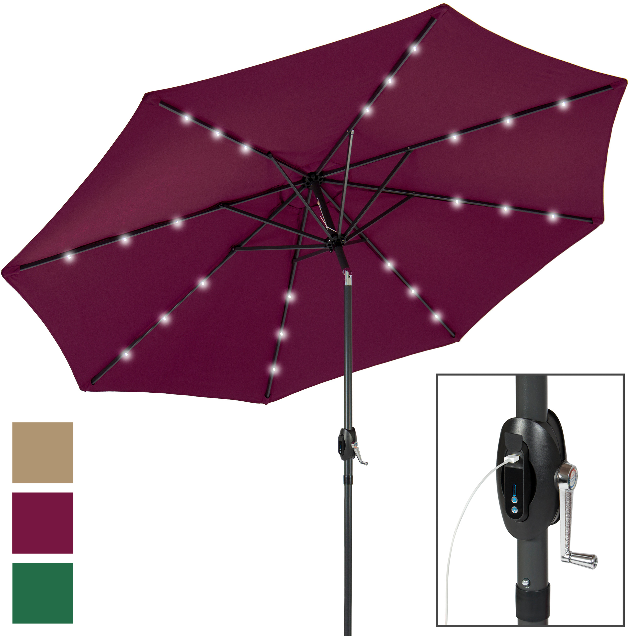 Portable USB Charger Bank 10' LED Light Patio Solar Umbrella Tilt Adjustment by