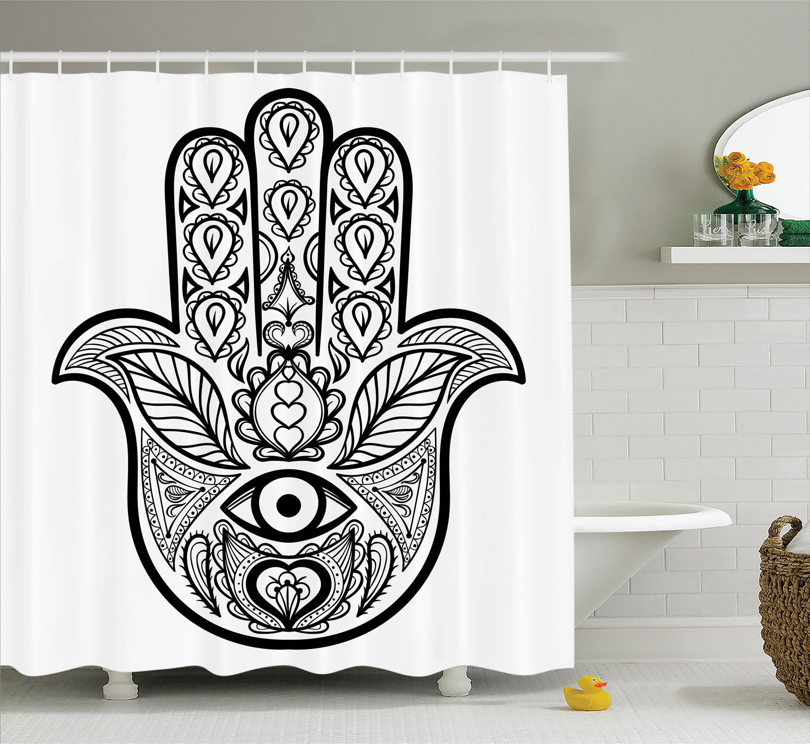 Mandala Decor Shower Curtain Set Hamsa Hand With Inner Eye Image Evil Eyes God Bless You Oriental Eastern Art Print Bathroom Accessories 69w X 70l Inches By Ambesonne Walmart Com Walmart Com