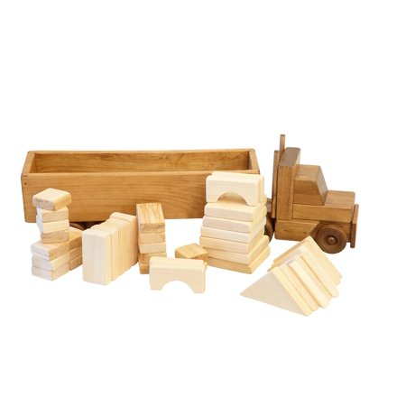 AmishToyBox.com Large Wooden Toy Semi Truck Set with 30 Building Blocks