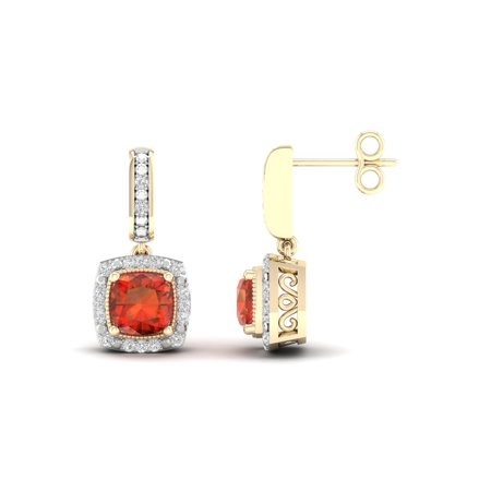 Imperial Gemstone 10K Yellow Gold Madeira Citrine 1/10 CT TW Diamond Halo Earrings