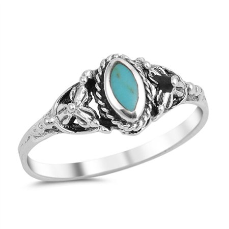 CHOOSE YOUR COLOR Bali Simulated Turquoise Flower Ring New .925 Sterling Silver Band