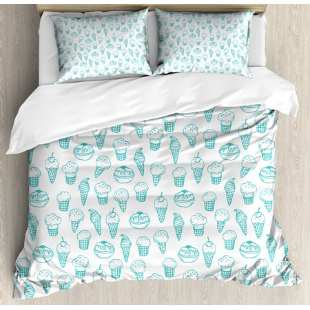 Ice Cream King Size Duvet Cover Set, Hand Drawn Ice Cream Pattern Abstract Style and Fresh Summer Color Childish, Decorative 3 Piece Bedding Set with 2 Pillow Shams, Turquoise White, by Ambesonne