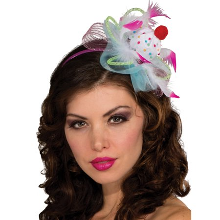 Womens Cute White Pink Sprinkles Clown Mini Costume Pastel Cupcake Top Hat
