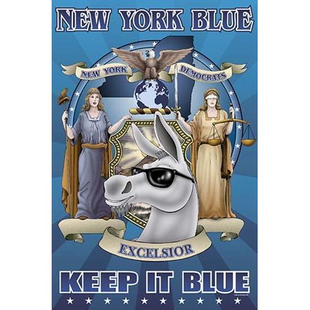 The Official Crest of the state of New York carries the name New York Democrats the Blue Donkey is in the center and is marked Excelsior Poster Print by Richard (Downey Center)