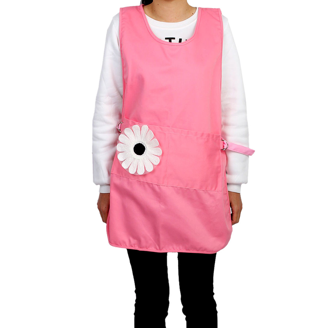 Household Kitchen Polyester Flower Decor Cooking Baking Apron Bib Dress Pink