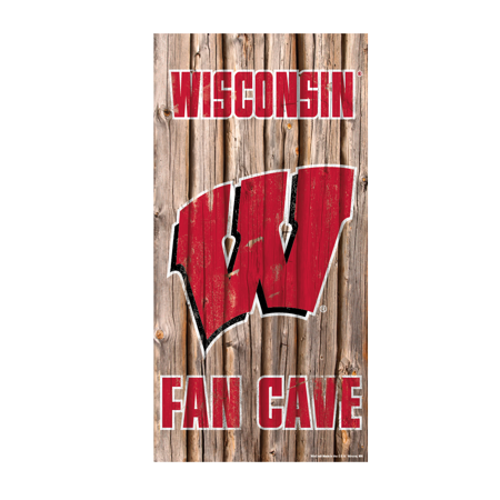 Wisconsin Badgers Official NCAA Wall Sign 6x12 wood by Wincraft - Wisconsin Badgers Wood