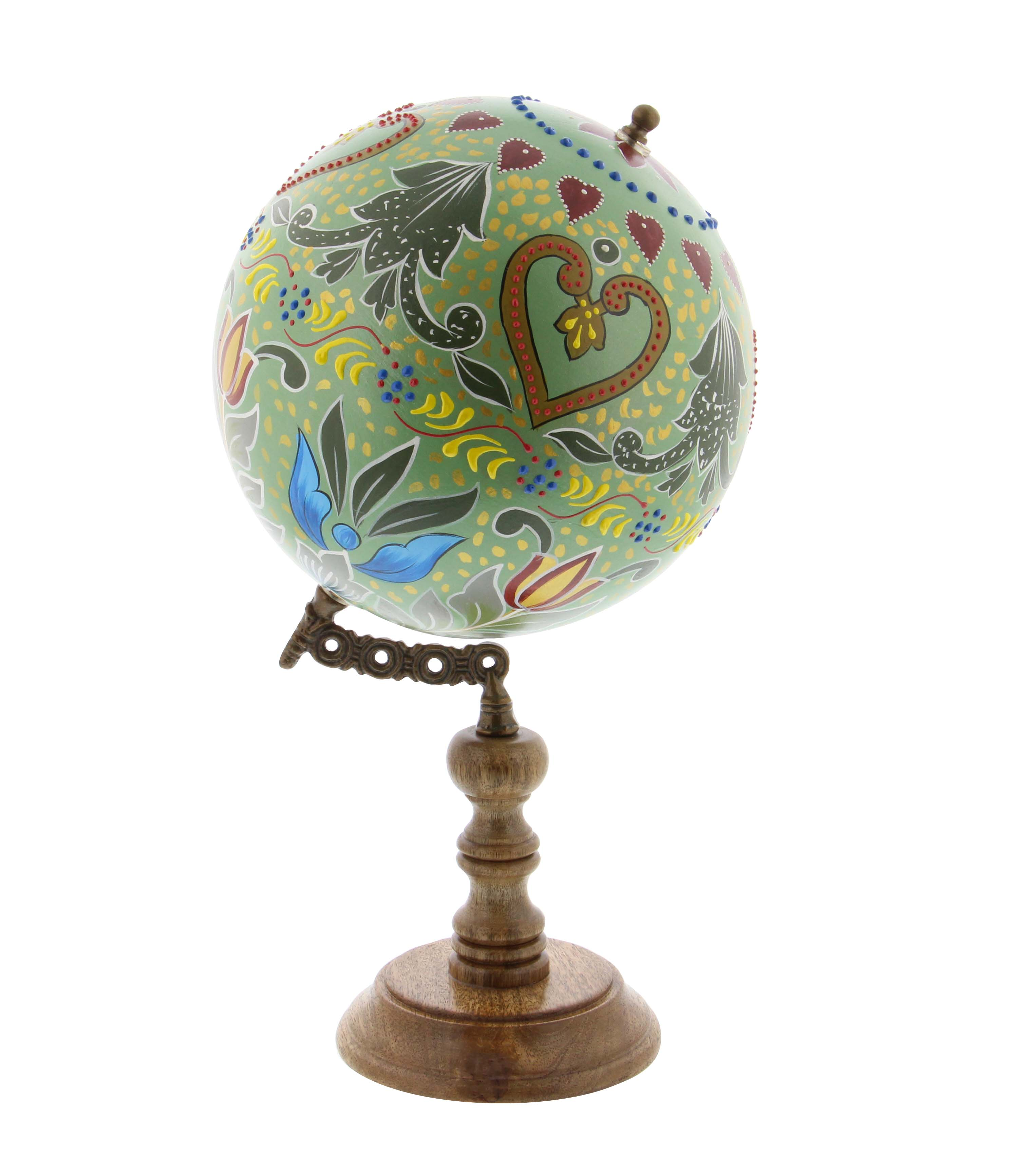 Decmode Traditional 15 Inch Multicolored Resin And Wood Decorative Floral Globe, Multicolor
