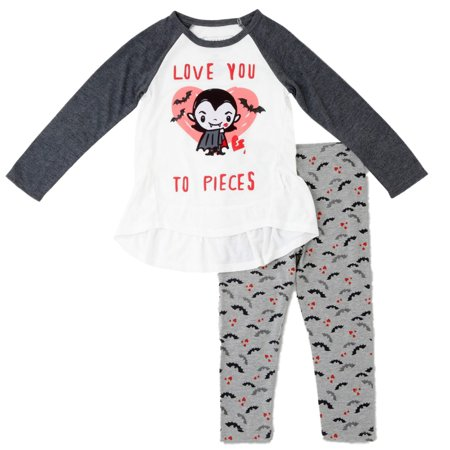 Toddler Girls Love You To Pieces Outfit Vampire Monster T-Shirt & Leggings