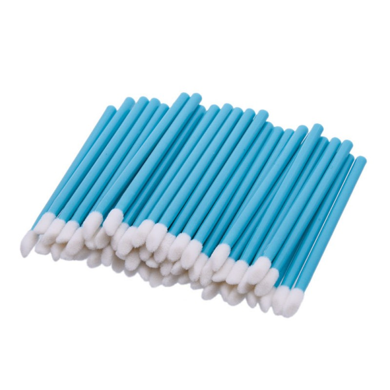 50pcs Disposable Lip Brush Gloss Lipstick Wands Applicator Brush Makeup Tool Blue