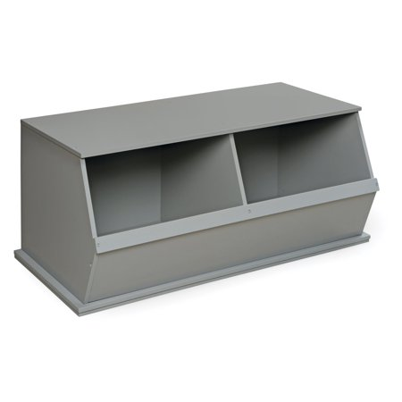 Badger Basket Two Bin Stackable Storage Cubby, Gray - Gray Storage Bins
