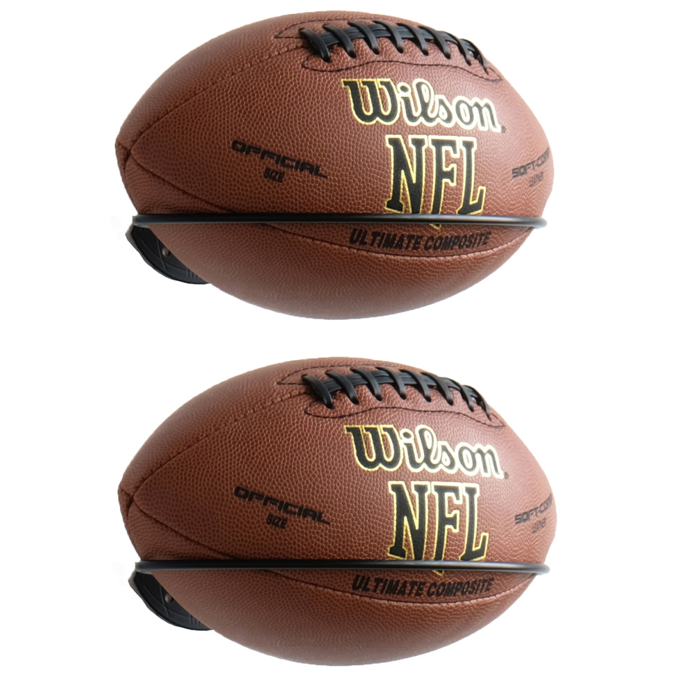 Set Of 2 Wall Mount Football Holder Wall Mountable Multi Function Sports Ball Holder