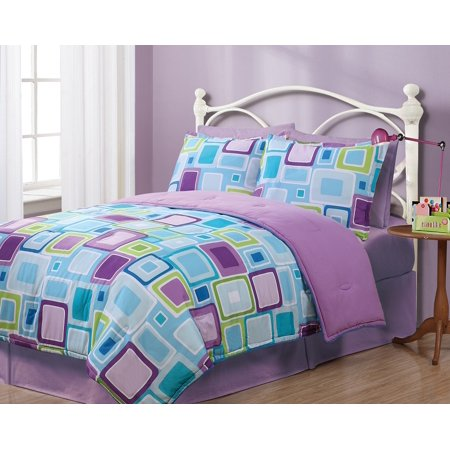 (Twin Geo Aqua Square Reversible Comforter Set)