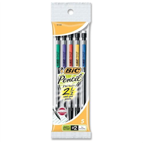 Bic Mechanical Pencil #2 Pencil Grade 0.7 Mm Lead Size 5   Pack (MPP51) by